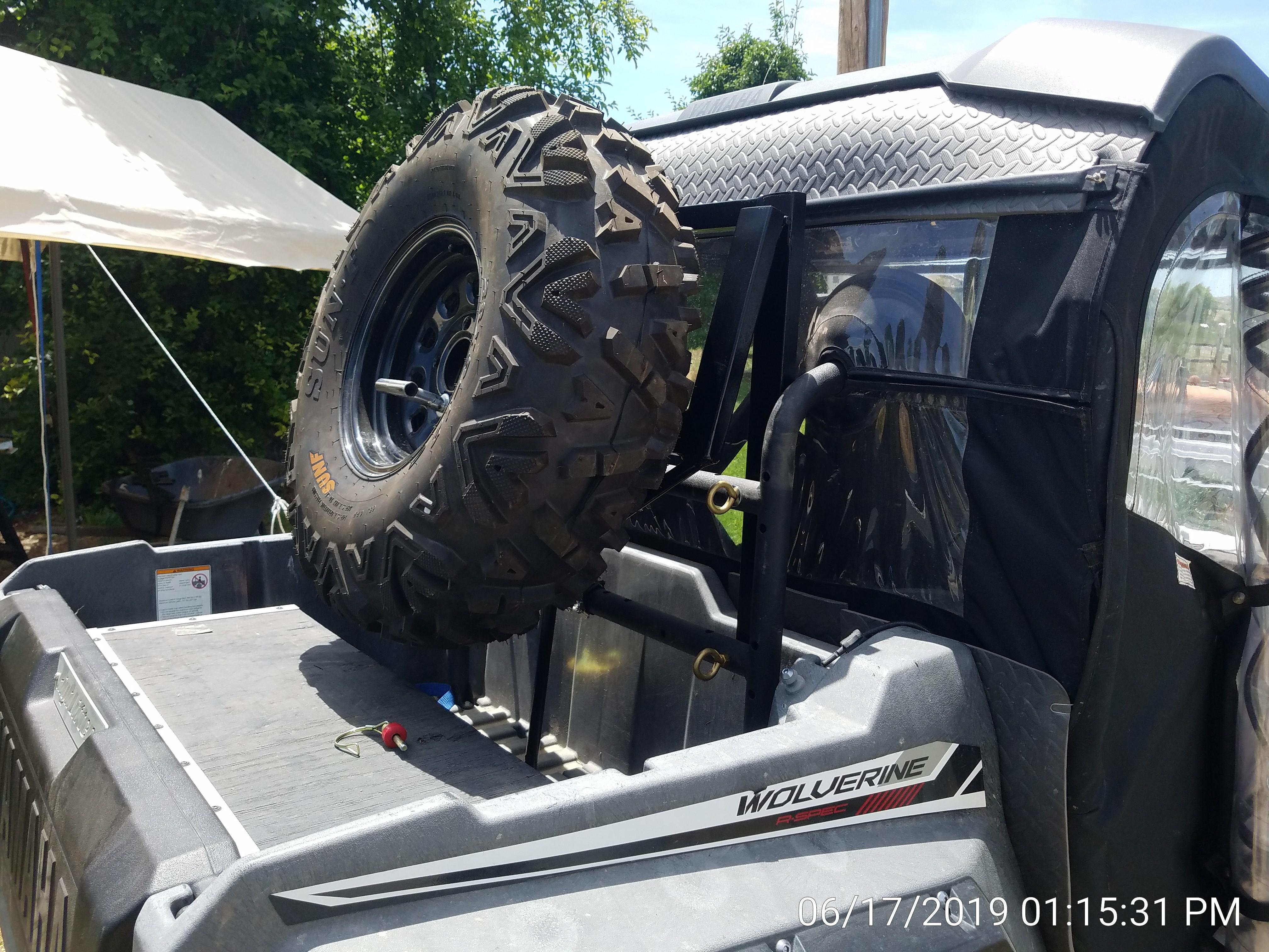 Fabbed Fold Down Rear Overhead Spare Tire Rack